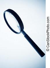 magnifier close up in blue tone