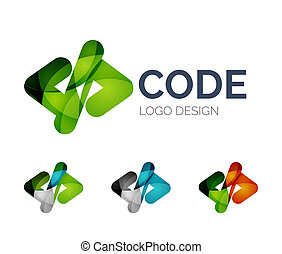 Code icon logo design made of color pieces - Abstract code...