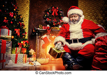 brought gifts - Santa Claus brought gifts for Christmas....