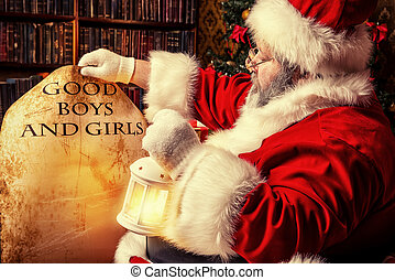 good boys - Santa Claus sitting in a room decorated for...