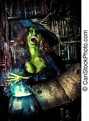 magic magician - Fairy wicked witch in the wizarding lair...