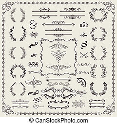 Hand Drawn Doodle Design Elements - Vintage Hand Drawn...