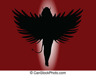 She Devil - A she devil with large wings all in silhouette