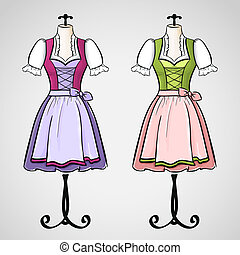 Hand drawn dirndl dress on mannequin. - Hand drawn dirndl...