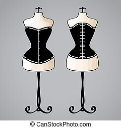 Corset on female mannequin - Corset on classic female...