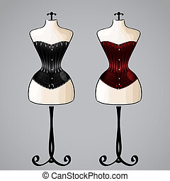 Corset on female mannequin - Corsets on classic female...
