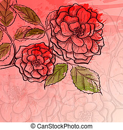 Sketch rose branch