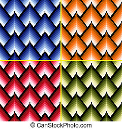 Four seamless patterns with different colors - Four seamless...