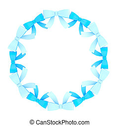 Round frame made of ribbon bows