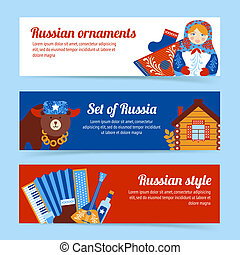 Russia travel banner set - Russia travel style and ornaments...