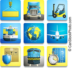Logistic Icons Set - Logistic shipping realistic icons set...