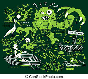 Search for the Swamp Monster - A local girl flees from a...