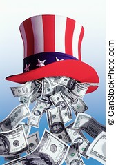 American dollars falling from Uncle Sam hat
