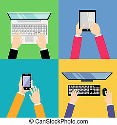 Business hands with gadgets - Human hands set holding...