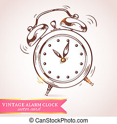 Old retro alarm clock card - Old vintage retro sketch...