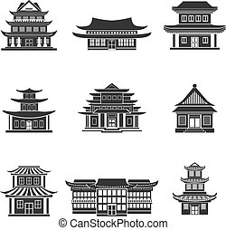 Chinese house icons black - Chinese house ancient temples...