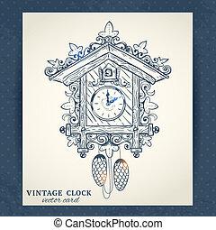 Old retro cuckoo clock postcard - Old vintage retro sketch...