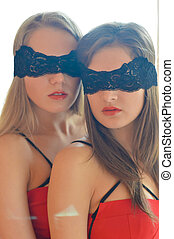 picture of closeup portrait on 2 sensual gorgeous sexy young...