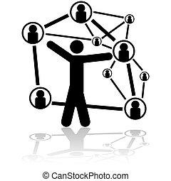 People connexions - Concept illustration showing a person...