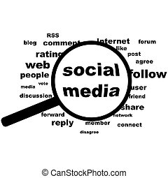 Social media in evidence - Concept illustration showing a...