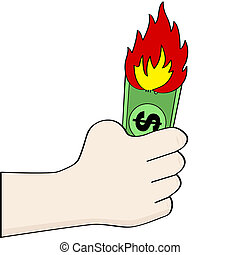 Burning money - Cartoon illustration showing a hand holding...