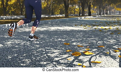 Woman jogging in the autumn park 2