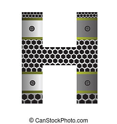 perforated metal letter H
