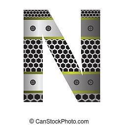 perforated metal letter N