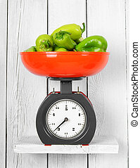 Pepper on scales on a wooden shelf.