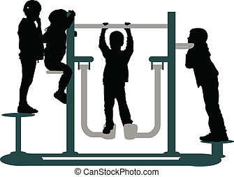 children playing in the park, silhouettes vector