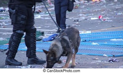 K9 police unit patrolling at riot - K9 unit with dog during...