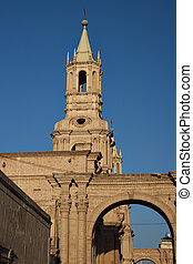 Arequipa Cathedral - Tower of the main cathedral in the...
