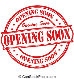 Opening soon - Stamp with text opening soon inside, vector...