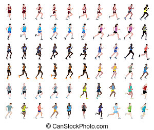 60 people running illustrations - vector