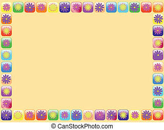 frame with flowers - vector