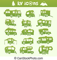 Recreational Vehicle set - Vector green recreational vehicle...