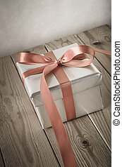 Silver Gift Box Angled with Vintage Effect - Angled shot of...