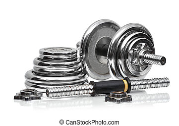 metal collapsible dumbbell  on a white background