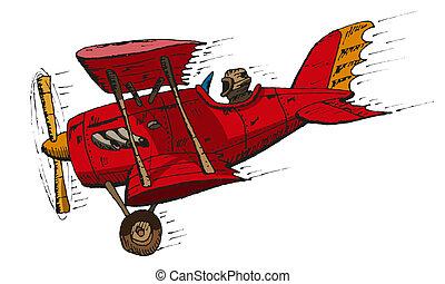 biplane cartoon - Vector hand draw doodle sketch biplane...