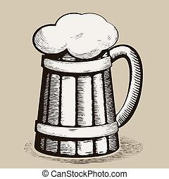 beer mug - Vector hand draw doodle sketch beer mug cartoon