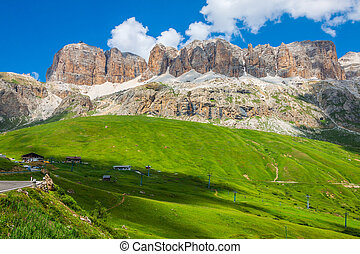 Panorama of Sella mountain range from Sella pass, Dolomites,...