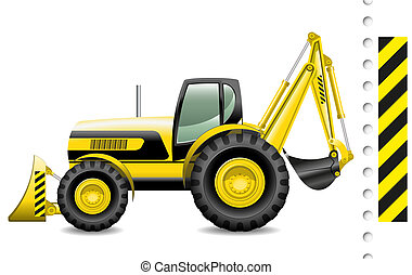 tractor - Vector illustration of a modern tractor on white...