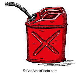 Vector gas can - Vector hand draw doodle sketch gas can...
