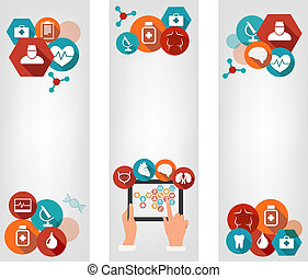 Three medical banners with colorful icons. Vector.