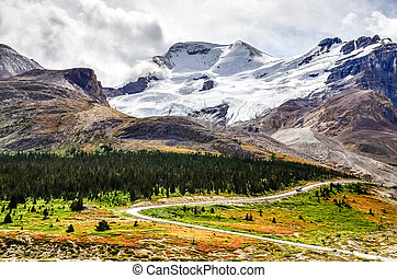 Landscape view of Columbia glacier in Jasper NP, Canada -...