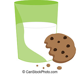 Partially Eaten Cookie and Milk