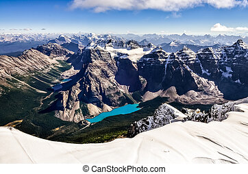 Mountain range view from Mt Temple with Moraine lake, Banff,...