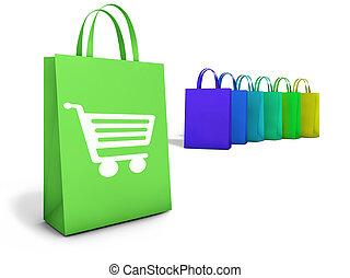 袋, オンラインで, 買い物, インターネット商業
