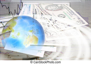 money - abstract scene planet on background money sign