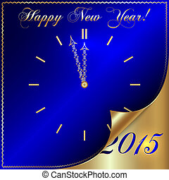 Vector illustration of 2015 new year greeting with curled...